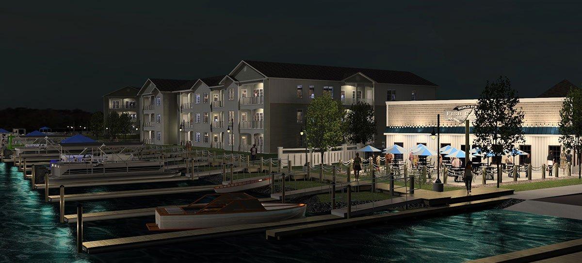 Rehoboth Residences Marina at Night - Rendering