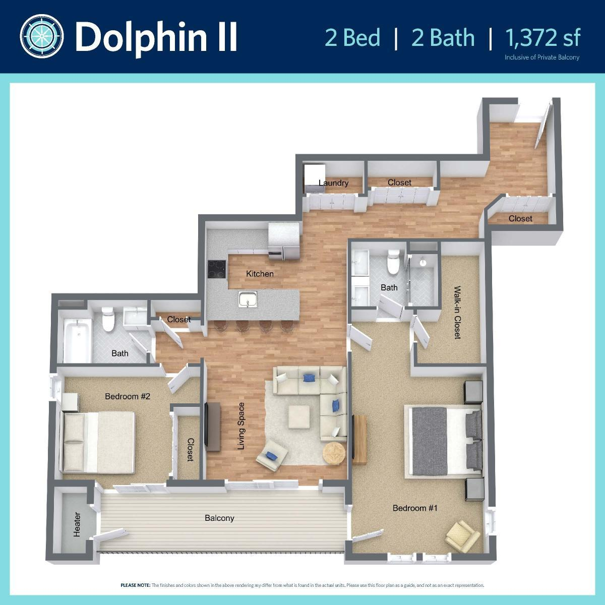Dolphin II -2 bed, 2 bath -1,372 sq ft