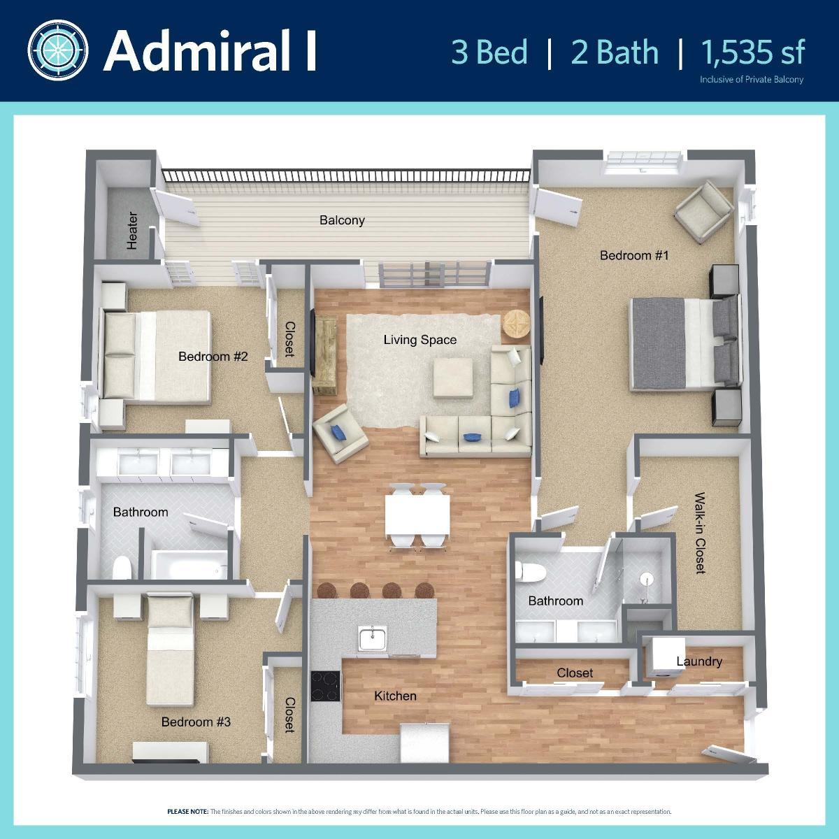 Admiral I - 3 bed, 2 bath - 1,535 sq ft