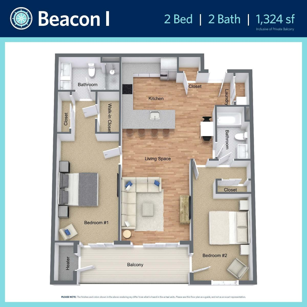 Beacon I -2 bed, 2 bath -1,324 sq ft