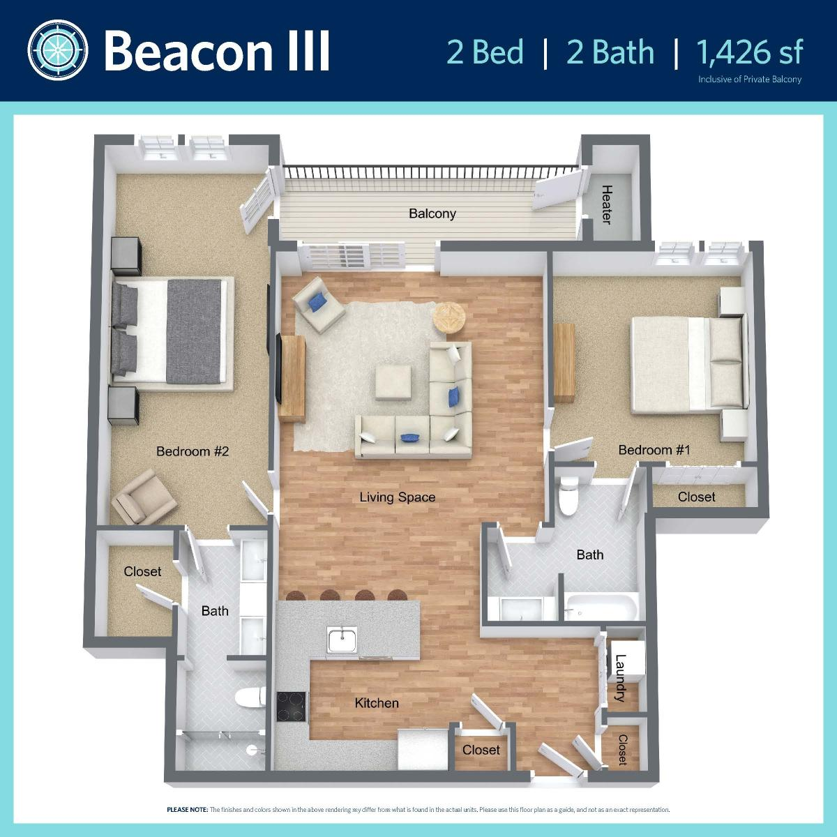 Beacon III -2 bed, 2 bath -1,426 sq ft