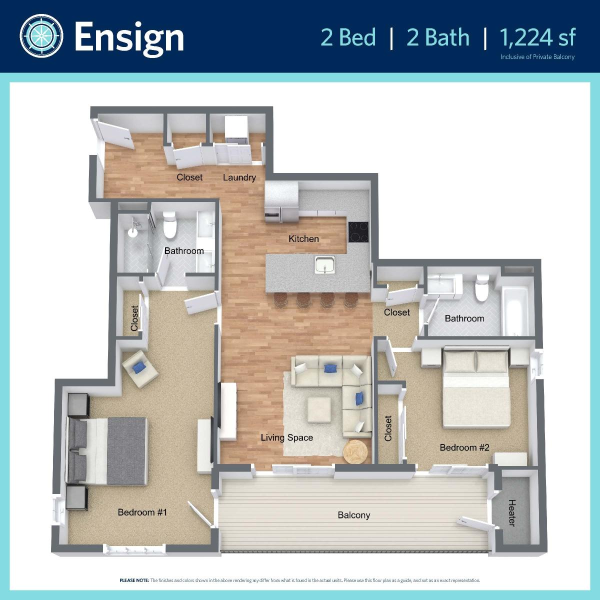 Ensign - 2 bed, 2 bath - 1,224 sq ft
